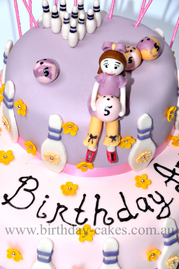 girls bowling birthday cake