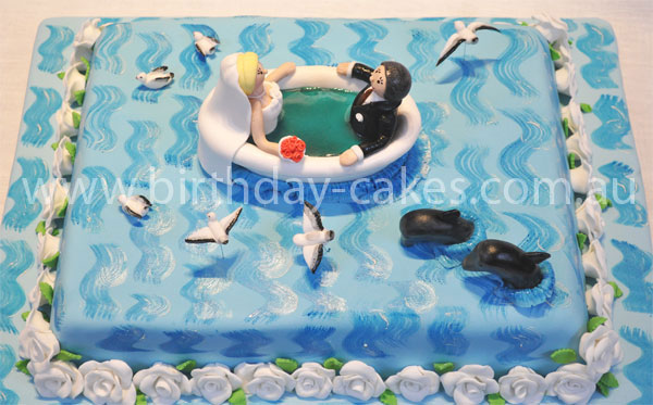 Fantastic Ocean Wedding Cake Funny Birthday Cards Online Aeocydamsfinfo