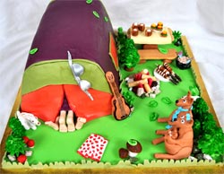 Excellent Sexy Camping Cake Personalised Birthday Cards Bromeletsinfo