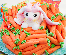 Bunny and Carrot Birthday Cake