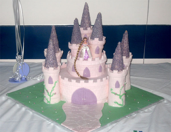 pink castle birthday cake