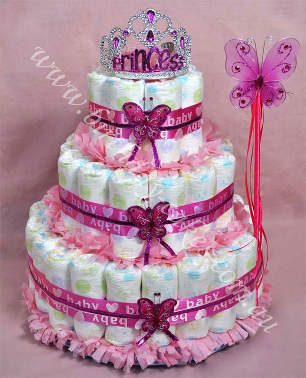 princess baby nappy cake gift