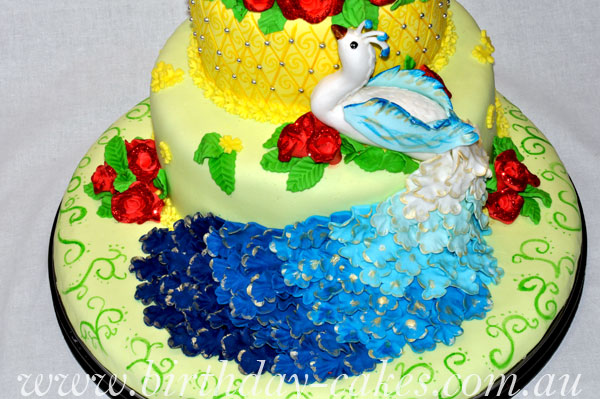 fondant peacocks