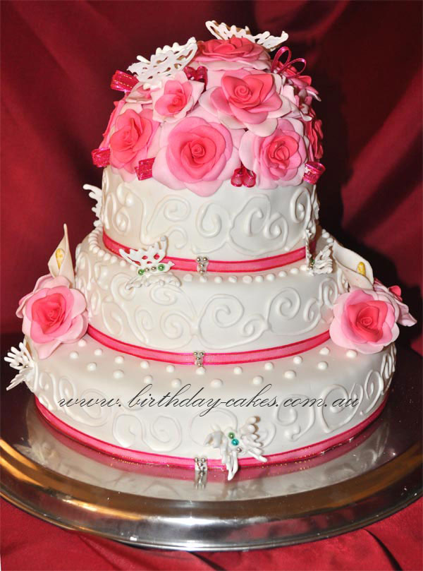 Fantastic Wedding Cake With Roses And Butterflies Personalised Birthday Cards Veneteletsinfo