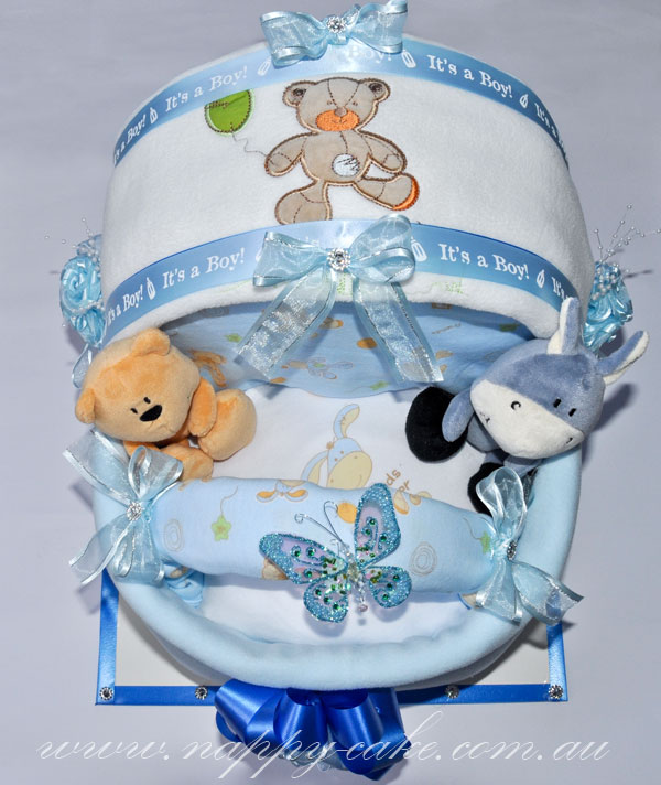 pram nappy cake for boys