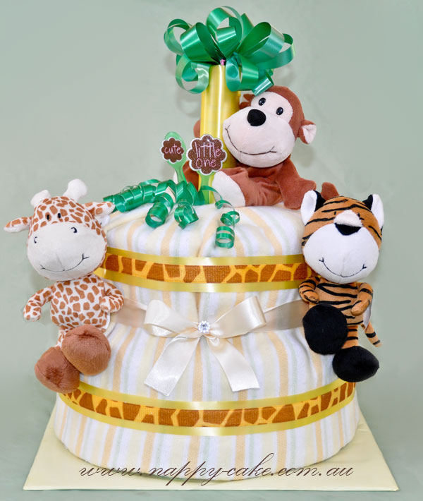 jungle animals nappy cake