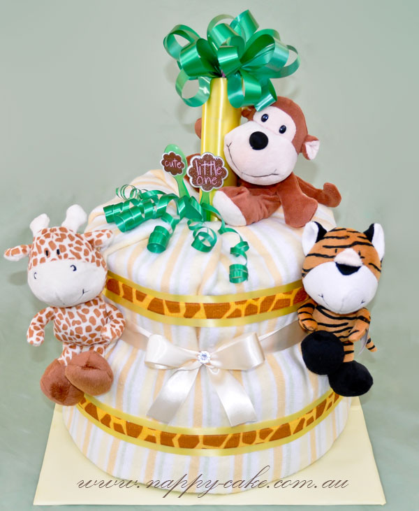 jungle themed nappy cake